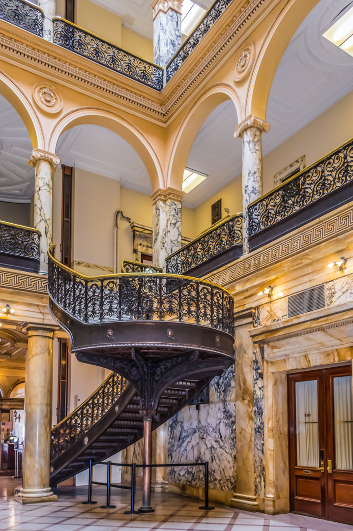 Stairwell at main entrance and lobby to City Hall in Rochester, NY