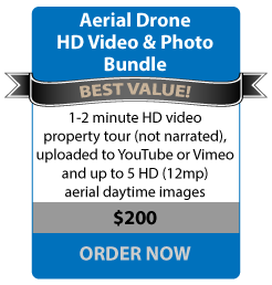 Aerial Drone HD Video & Photo Bundle - BEST VALUE - 1-2 minute HD video property tour (not narrated), uploaded to YouTube or Vimeo and up to 5 HD (24 megapixel) daytime images - $200 ORDER NOW