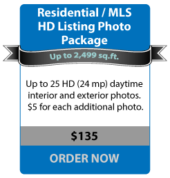 Residential / MLS HD Listing Photo Package - Up to 2,499 sq.ft. - Up to 25 HD (24mp) daytime interior and exterior photos. $5 for each additional photo. - $135 ORDER NOW